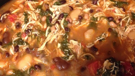 Slow Cooker Chicken Chili with Greens and Beans