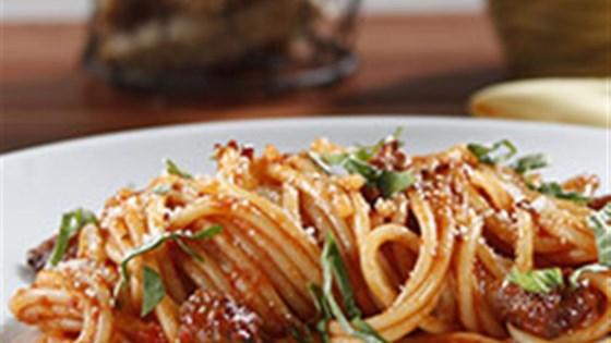 Spaghetti with Buffalo and Tomato and Basil Sauce