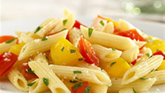White Fiber Mini Penne with Sweet Peppers and Parmigiano-Reggiano