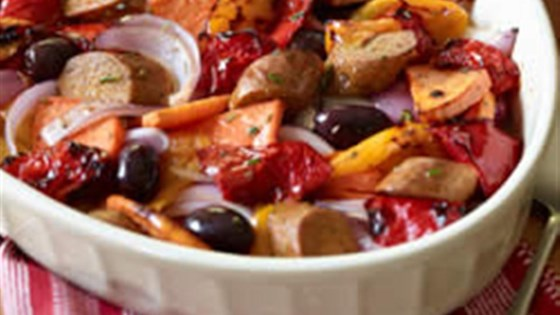 Italian Sausages with Roasted Sweet Potatoes and Sweet Peppers