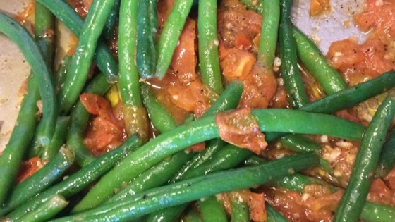 Steamed Green Beans with Roasted Tomatoes
