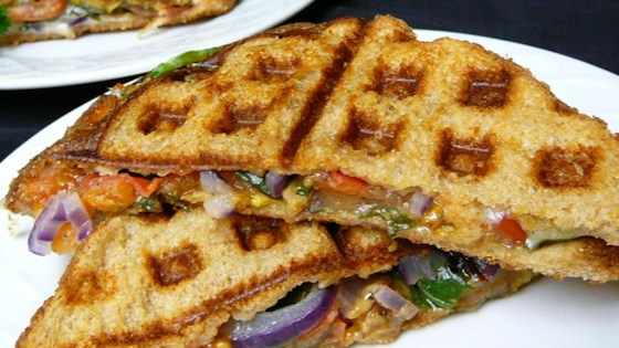Waffle Sandwich with Cheese, Spinach and Spicy Mustard