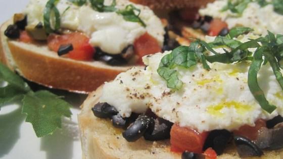 Artichoke Heart and Chopped Olive Crostini