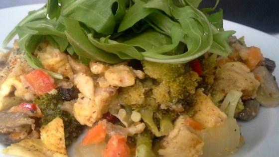 Spicy Chicken Broccoli Casserole with Fresh Arugula