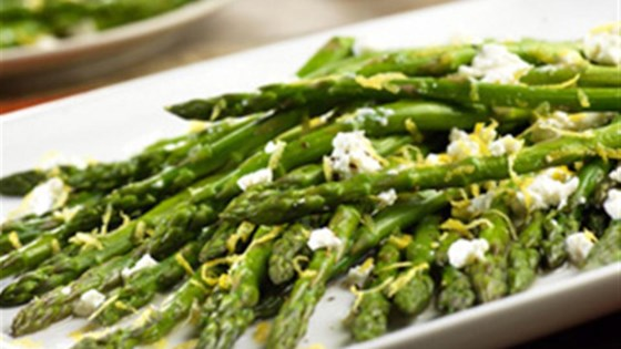 Roasted asparagus with lemon and goat cheese recipe allrecipes roasted asparagus with lemon and goat cheese ccuart Choice Image