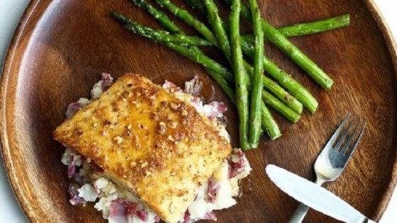 Hazelnut Crusted Halibut with Garlic Mashed Potatoes