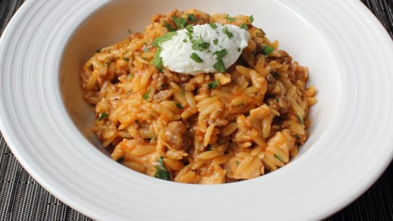 One-Pot Chicken and Sausage Orzo