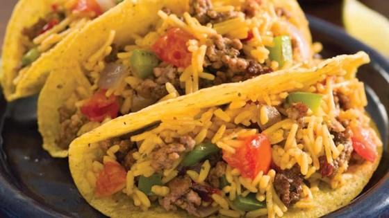 Mexican Rice Amp Beef Tacos Recipe Allrecipes Com