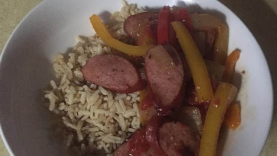 Spicy Sausage and Peppers Over Rice