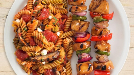 Grilled Mushroom and Goat Cheese Rotini with Honey Garlic Chicken Kabobs