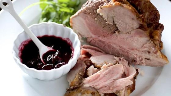 Roast Pork With Blueberry Port Sauce