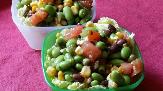 Edamame Salad with Homemade Garlic Cilantro Vinaigrette