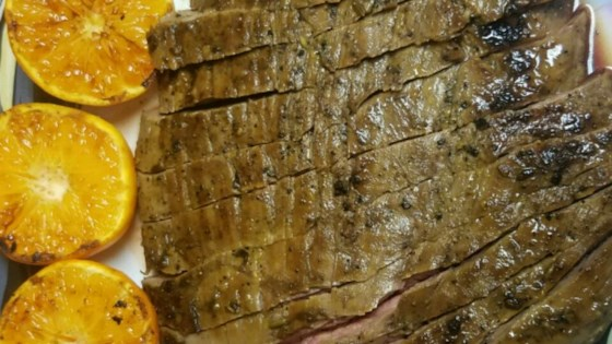 Garlic Fennel Flank Steak with Oranges