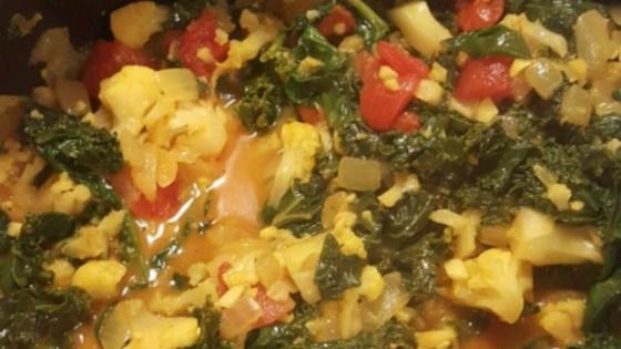 Spinach and Cauliflower Bhaji