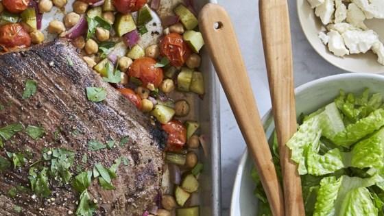 Greek Flank Steak and Veggie Salad
