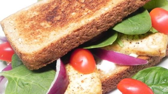Broiled, Marinated Tofu Sandwich