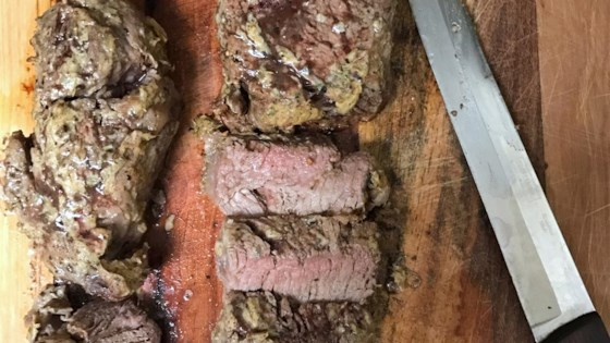 Beef Tenderloin Steaks Topped with Horseradish and Dijon Mustard
