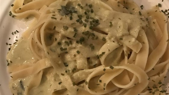 Ancho Chile Fettuccini with Cilantro-Tomatillo Cream Sauce