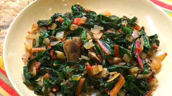 Sauteed Swiss Chard with Mushrooms and Roasted Red Peppers Recipe ...