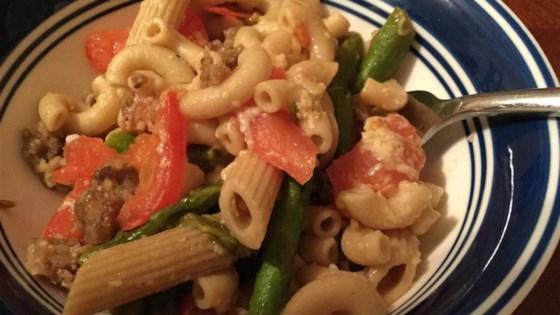 Sausage and Asparagus Spaghettini