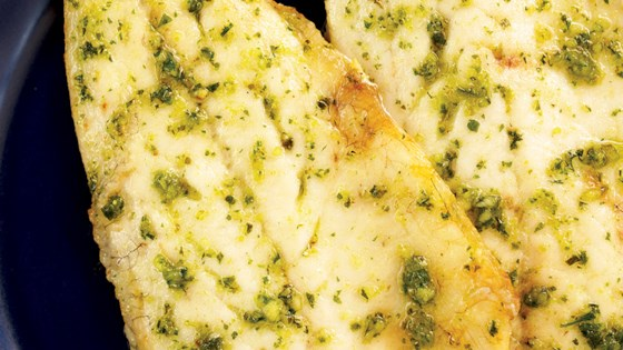 Grilled fish fillet with pesto sauce recipe for Pesto fish recipes
