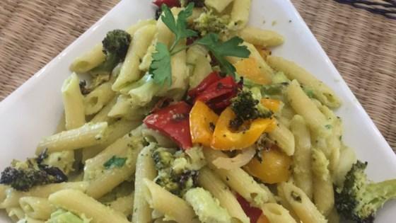 Vegan Avocado Pasta with Blackened Vegetables