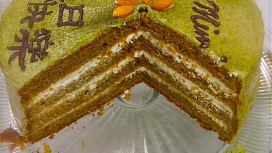 Japanese Layered Cake Recipe: Green Tea Layer Cake Recipe