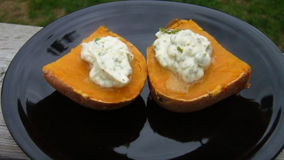 Sweet Potatoes with Poblano Butter Topping