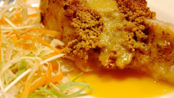 Macadamia-Crusted Sea Bass with Mango Cream Sauce