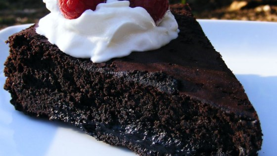 Warm Flourless Chocolate Cake with Caramel Sauce