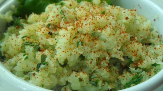 "Lime Cilantro Cauliflower ""Rice"""