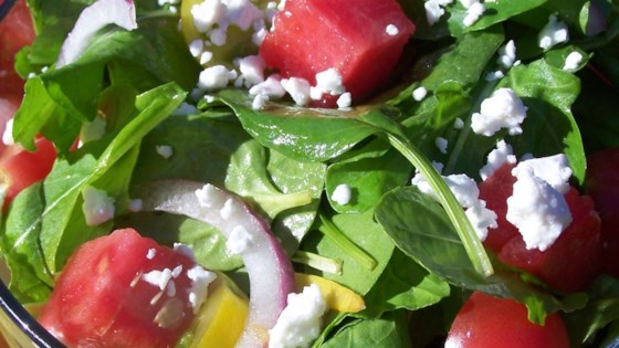 Watermelon and Feta Salad with Arugula and Spinach