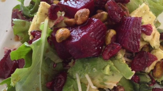 Roasted Beet, Avocado and Pistachio Salad