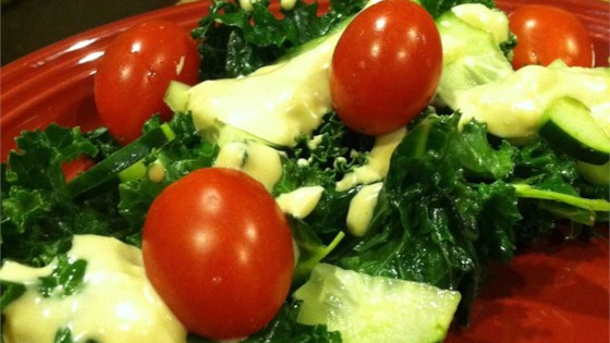 Kale Caesar with Cucumbers and Leeks