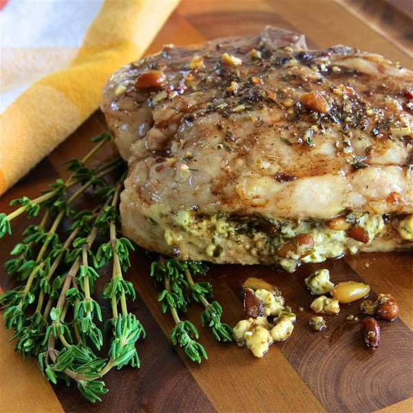 Pesto Stuffed Pork Chops
