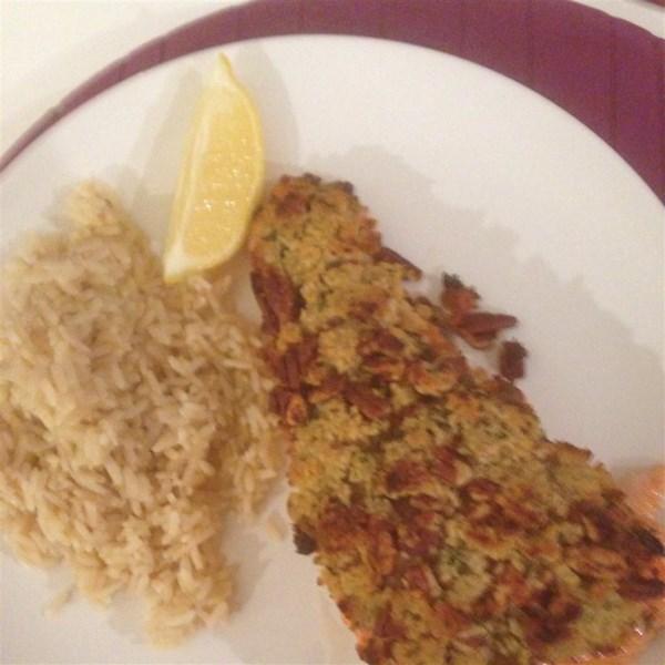 Alaska Salmon Bake With Pecan Crunch Coating Recipe — Dishmaps