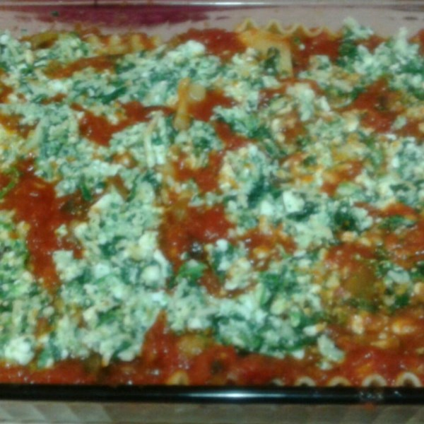 Low Fat Cheesy Spinach And Eggplant Lasagna Recipe — Dishmaps
