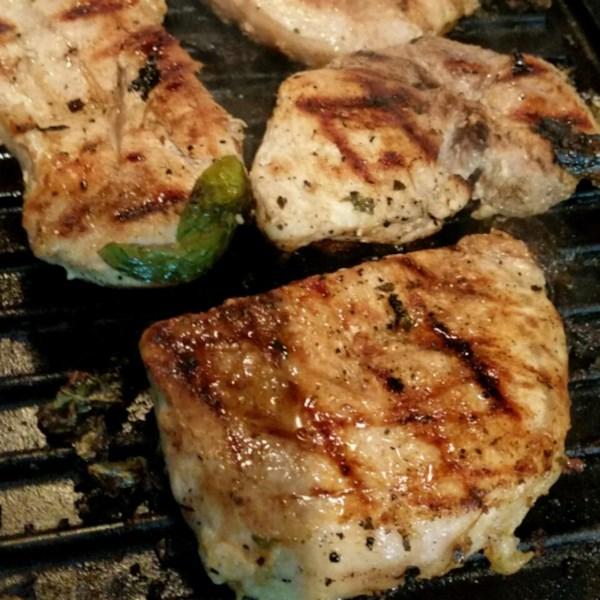 Grilled Basil-and-Garlic Pork Chops Recipe — Dishmaps