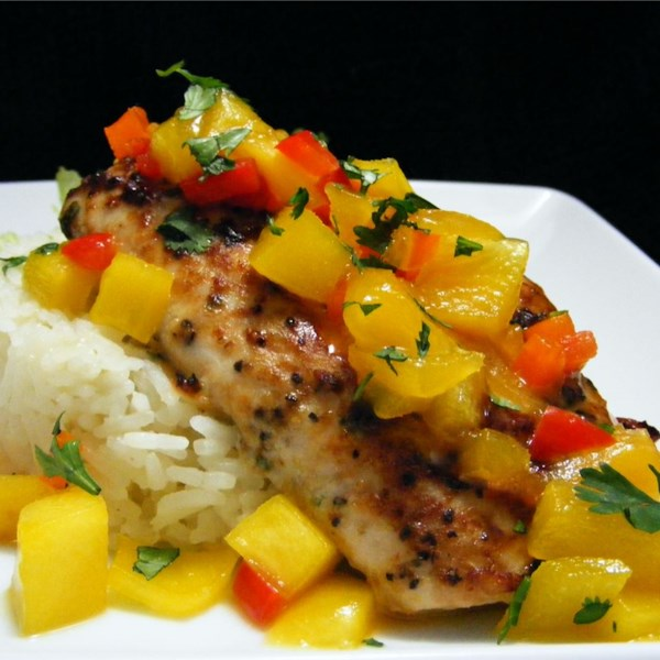 Mahi mahi with coconut rice and mango salsa photos for Mango salsa recipe for fish