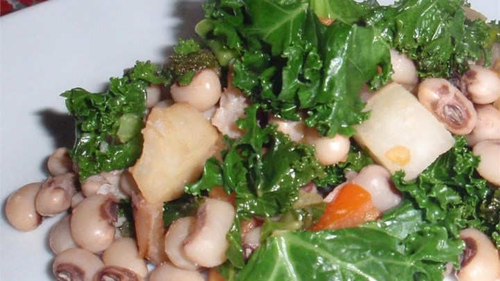 Black-Eyed Peas With Collard Greens and Turnips