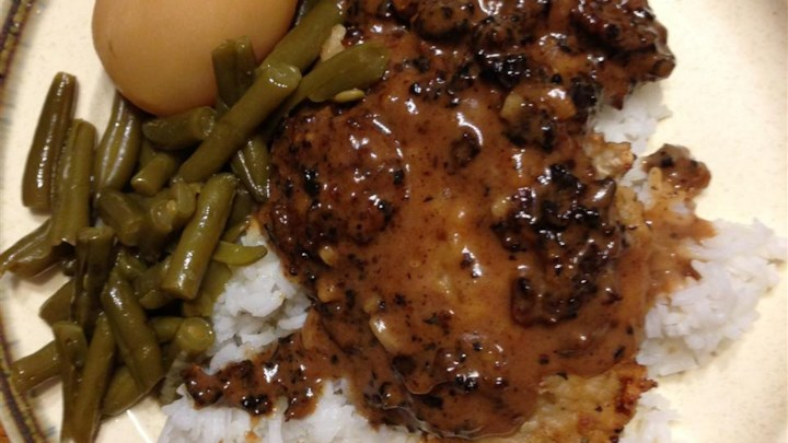 Alligator in Garlic-Wine Sauce