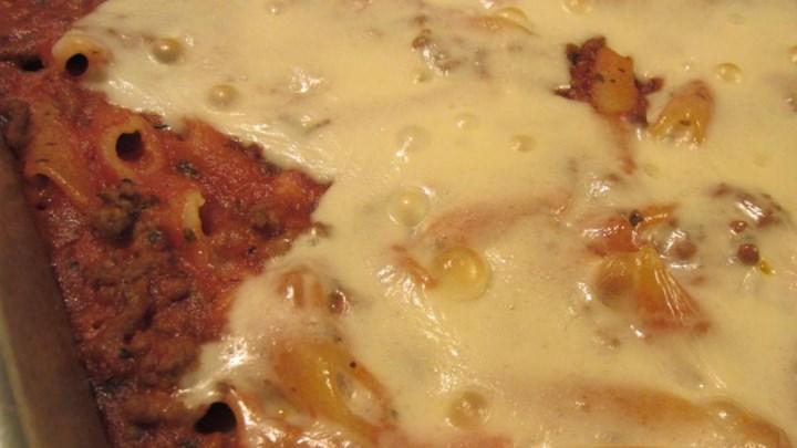 Miles of Mozzarella Baked Mostaccioli