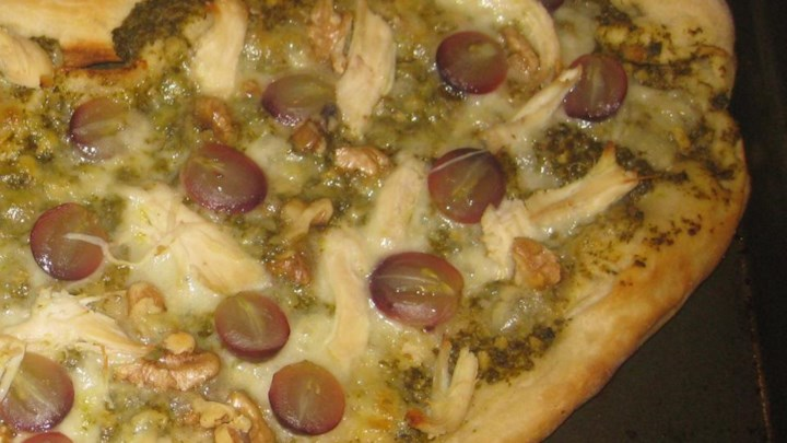 Grape, Chicken, and Walnut Pesto Pizza