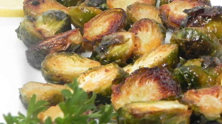 Roasted Brussels Sprouts with Agave and Spicy Mustard
