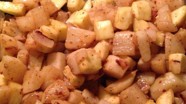 Fried Yellow Squash with Potatoes and Onions