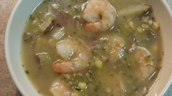 Leek and Potato Soup with Shrimp and Corn