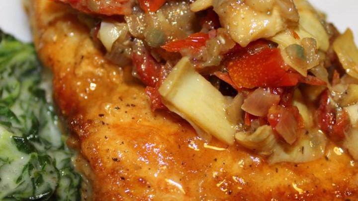 Mahi Mahi with Artichokes and Sun-Dried Tomatoes