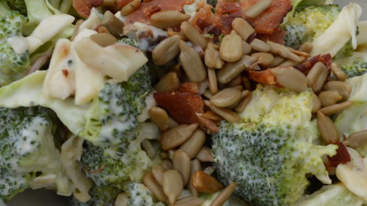 Broccoli Salad with Red Grapes, Bacon, and Sunflower Seeds