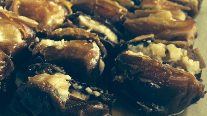 Roasted Dates Stuffed with Pine Nuts in Honey