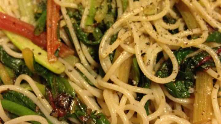 Chard Stalks and Garlic Scape Pasta